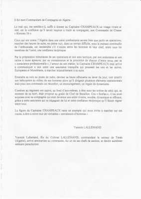 Lettre de Yannick Lallemand