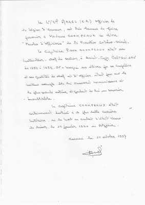 Lettre du lieutenant colonel Arzel (ER)
