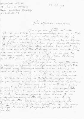 Lettre de Claude Bourgoin, ancien de Kimono 36
