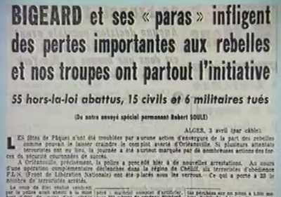 BIGEARD et ses Paras infligent des pertes importantes aux rebelles