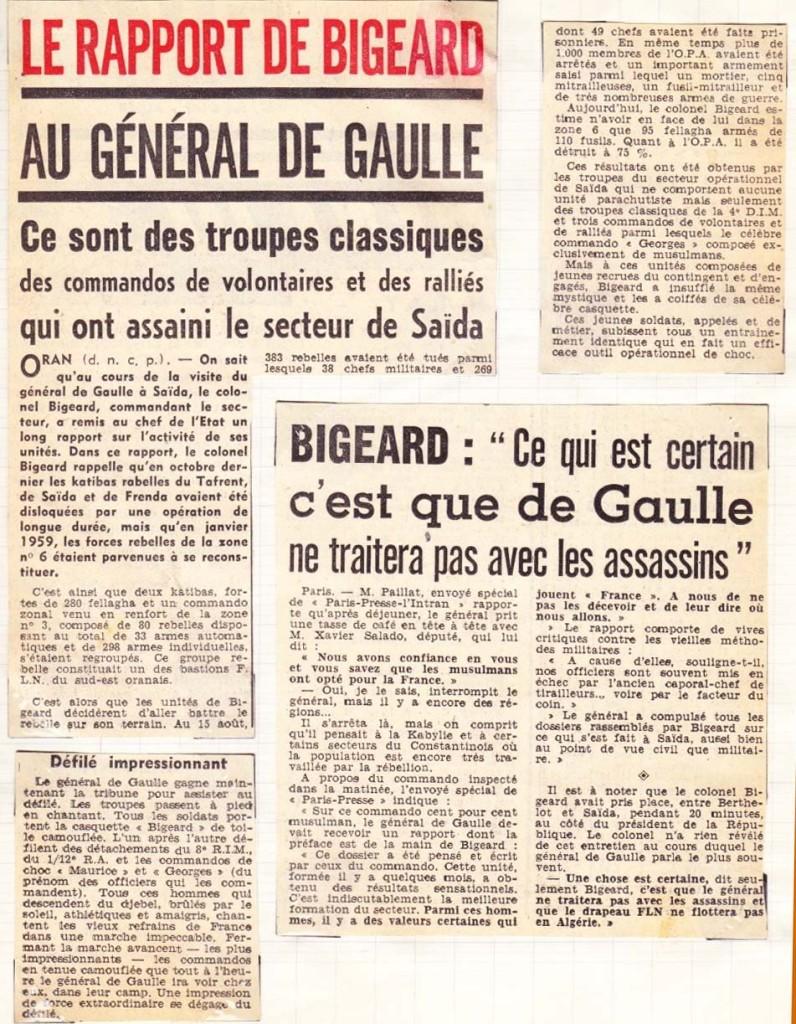 """BIGEARD en 1959 """"Ce qui est certain c'est que De Gaulle ne traitera pas avec les assassins ..."""