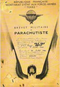 Brevet Parachutiste de Roger PETIT