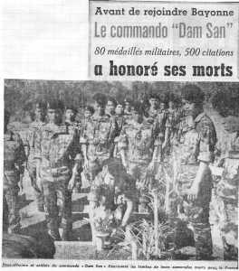 """1960 la dissolution du Commando """"DAM-SAN"""""""