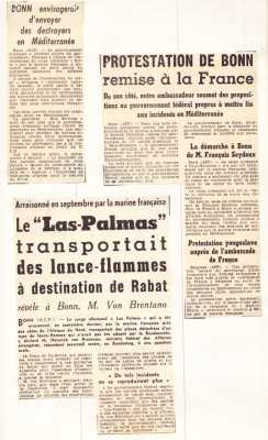 "Contrebande d'armes Cargo allemand ""LAS PALMAS"""