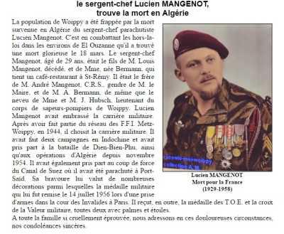 Sergent-Chef Lucien MANGENOT Mort au combat le 18 Mars 1958 Un ancien de DIEN-BIEN-PHU