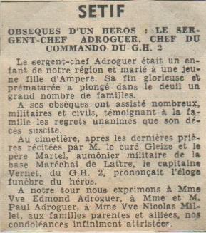 Commando GH 2  Mort du Sergent-Chef ADROGUER