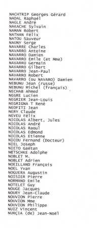 Liste des Disparus ---- N