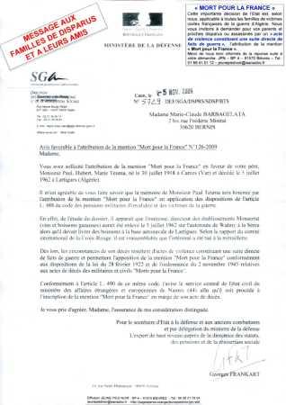 """Les familles des Disparus peuvent demander l'inscription """"Mort pour la France"""""""