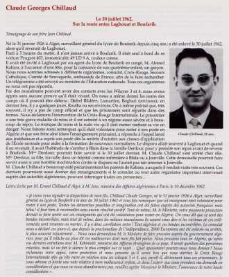 LAGHOUAT le 30 Juillet 1962 Claude Georges CHILLAUD 35 ans disparu