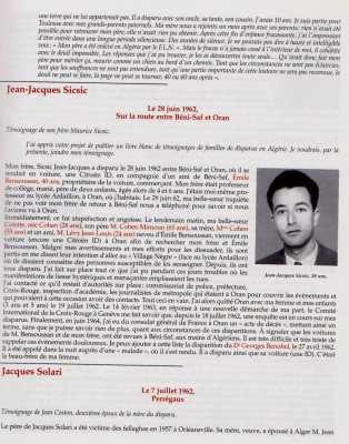 BENI-SAF le 28 Juin 1962 Jean-Jacques SICSIC 38 ans disparu Colette COHEN 28 ans disparue Mimoun COHEN 65 ans disparu Mme COHEN 55 ans disparue JeanLouis LEVY 24 ans disparu
