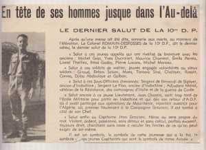 L'hommage du Colonel ROMAIN-DESFOSSES au capitaine GRAZIANI