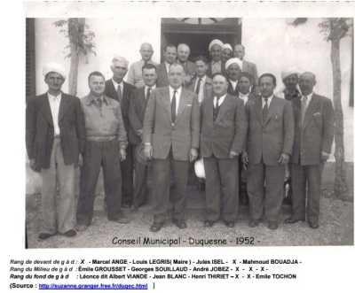 DUQUESNE - Le Conseil Municipal en  1952