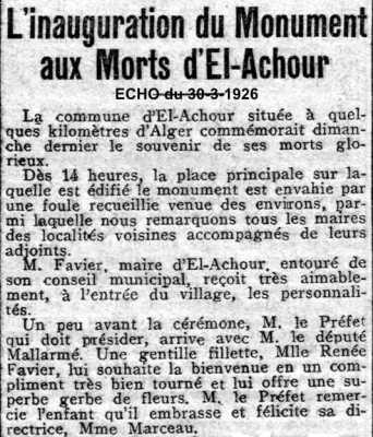 EL ACHOUR  1926 - Inauguration du Monument aux Morts ----    Site Internet