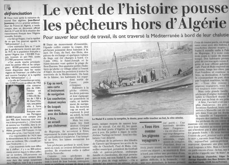 Les chalutiers de Bou Haroun ----    1962 - L'exode des Chalutiers   Cliquez ici