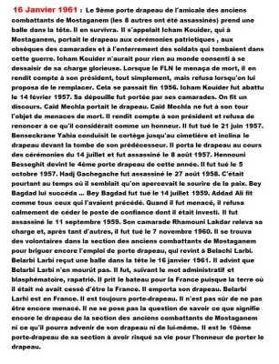 16 Janvier 1961 ----  L'assassinat des 10 porte-drapeaux musulmans de Mostaganem