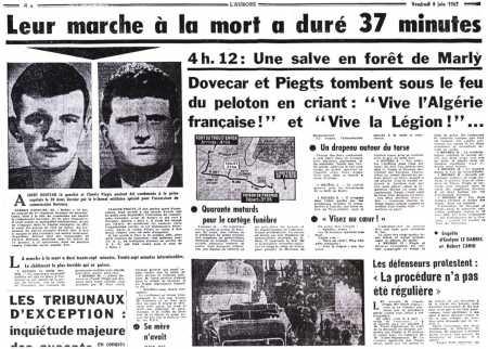jeudi 6 juin 1962 l'assassinat d'Albert DOVECAR et Claude PIEGTS