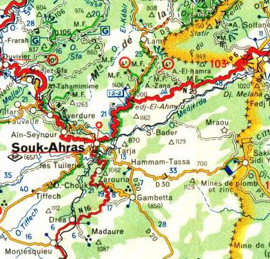 Carte de GAMBETTA au sud-est de Souk-Ahras