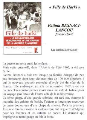 Fille de HARKI  Fatima BESNACI-LANCOU