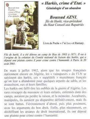 HARKIS, CRIME d'ETAT  Boussad AZNI
