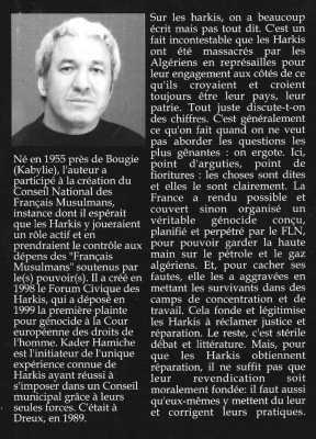 Manifeste d'un Harki Fier de l'Etre  Kader HAMICHE