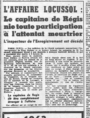 5 Janvier 1962 ---- l'affaire LOCUSSOL Paul STEFANI Robert ARTAUD Capitaine REGIS