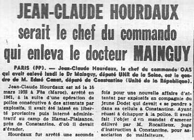 23 Janvier 1962 ---- arrestation de Jean-Claude HOURDAUX