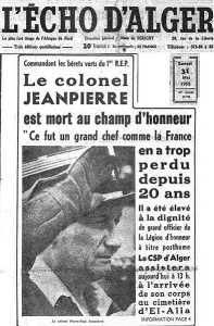 29 Mai 1958 la mort du Colonel JEANPIERRE