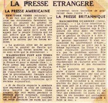13 Mai 1958 La presse Anglo-Saxonne