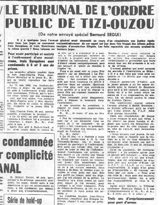 7 Juin 1962 ---- Tribunal de Tizi-Ouzou Jean-Charles PONS Jean-Pierre STREICHER