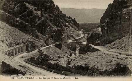 EL-KANTARA La route de BISKRA dans les Gorges