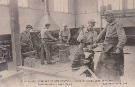 Mine de Djebel Kouif - Avril 1914 L'Ecole d'Apprentissage