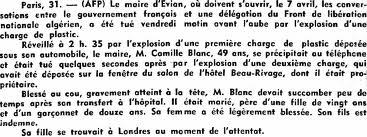 Jeudi 31 mars 1961 Assassinat du Maire d'Evian Camille BLANC