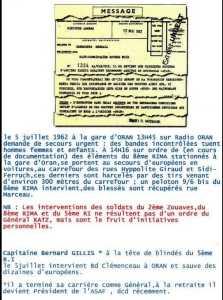 Capitaine Bernard GILLIS  ORAN - 5 Juillet 1962