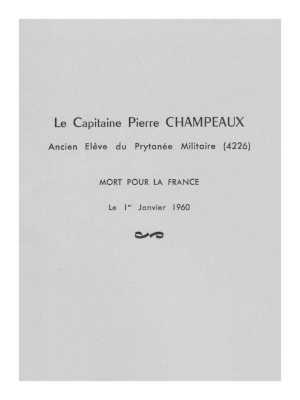 Capitaine Pierre CHAMPEAUX Mort pour la France le 1er Janvier 1960