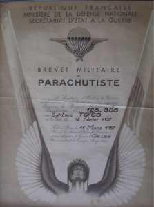 Brevet de Parachutiste du sergent Louis TOIGO