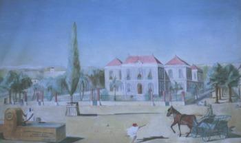 MISSERGHIN  Peinture de la place du village