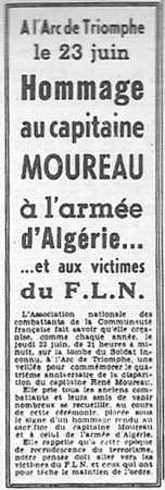 1960 -  Hommage au capitaine MOUREAU