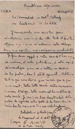 10 Octobre 1959 ---- Lettre du Cdt Mohamed SULHADJ au lieutenant SI SADDOCK