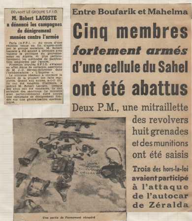 Octobre 1959 ----  BOUFARIK / MAHELMA : 5 terroristes abattus