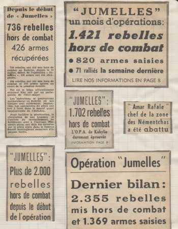Octobre 1959 ----  NEMENTCHAS : AMAR RAFALE le chef de cette zone, abattu