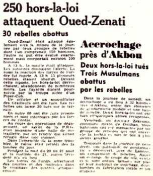 OUED-ZENATI - 22 AOUT 1955  30 HLL abattus