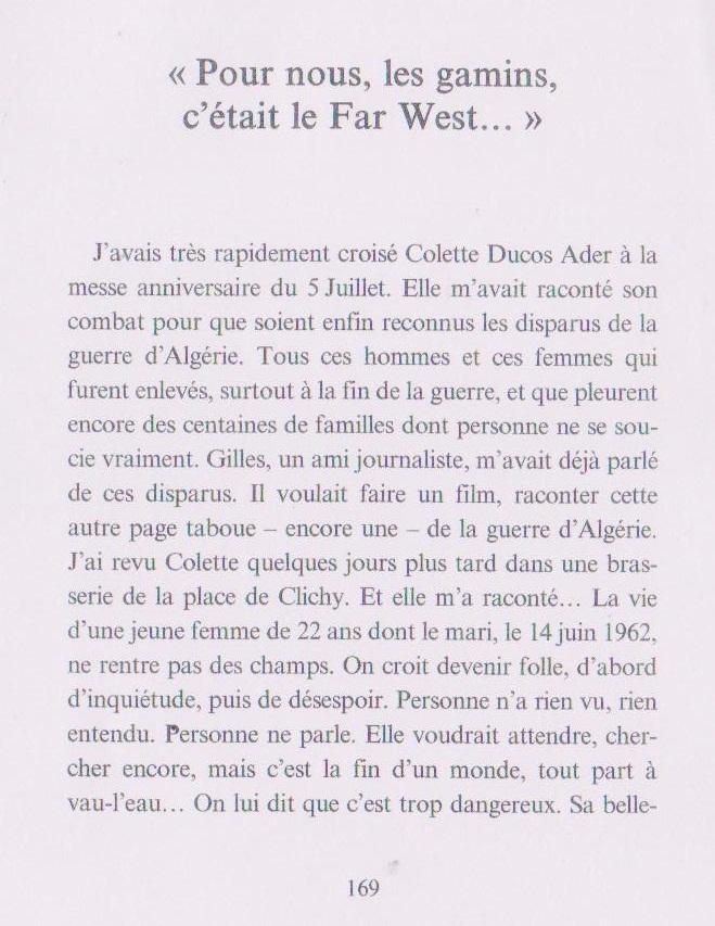 ... Colette, une jeune femme de 22 ans dont le mari, le 14 juin 1962, ne rentre pas ...
