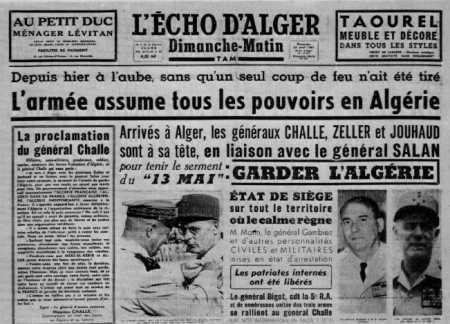 21 Avril 1961 ---- le Putsch CHALLE ZELLER JOUHAUD SALAN
