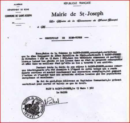 """SAINT JOSEPH Certificat de """"Bien-Vivre"""" de la Mairie"""