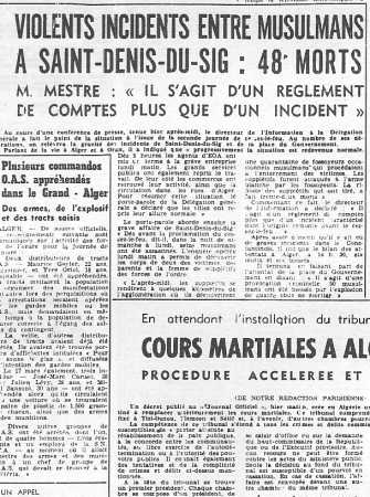 SAINT DENIS DU SIG 21 MARS 1962 - 48 morts