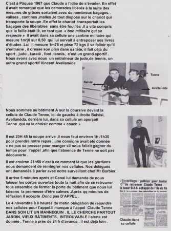Paques 1967 - Evasion de Claude TENNE