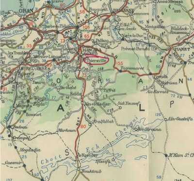 Carte THIERSVILLE, au sud de MASCARA