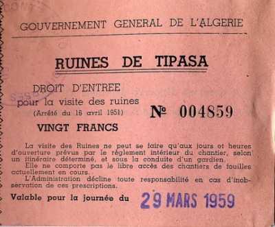 Visite des ruines de TIPASA 20 francs