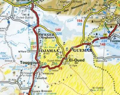 Situation de TOUGGOURT en dessous de BISKRA