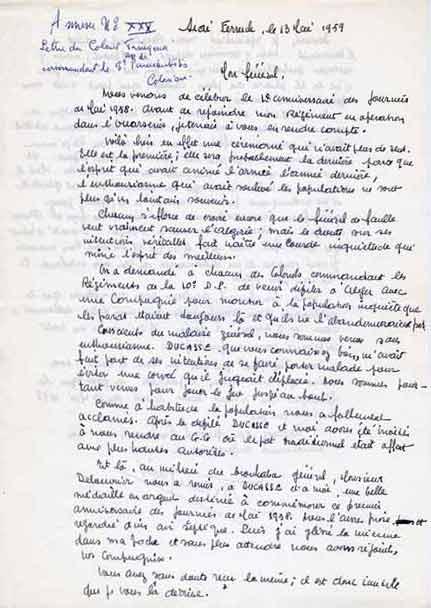 Correspondance entre TRINQUIER et SALAN le 13 Mai 1959